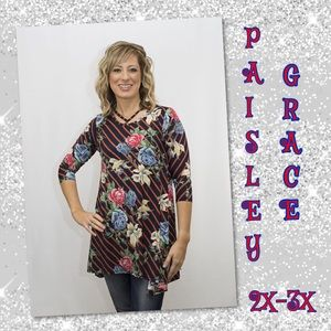 NWT PAISLEY GRACE 2X-3X NAVY/RED Tunic. Retail $36